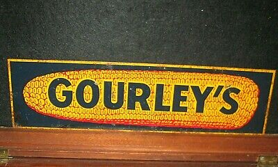 Vintage Old Gourley's Hybrid Seed Corn Metal Farm Advertising Sign