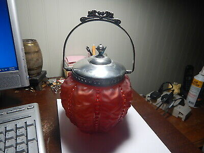 Beaded Drape Cranberry Red Satin Glass Victorian Biscuit Jar , Bail Handle w Lid