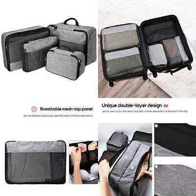 Procase 4 Set Packing Cubes Compression Travel Luggage Organizers Bag GREY LARGE