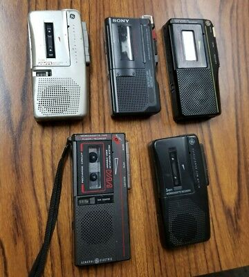 Lot of 5 Micro Cassette Recorders for Parts or Repair Sony GE
