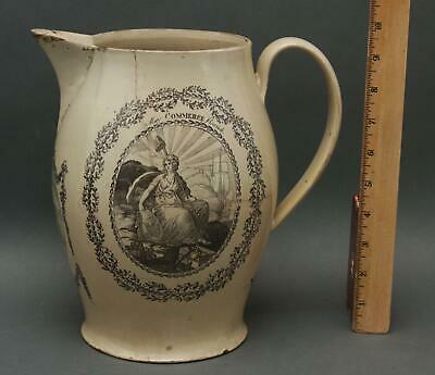 Antique 19thC Peace Plenty Independence, Liverpool Pottery Pitcher .. NR