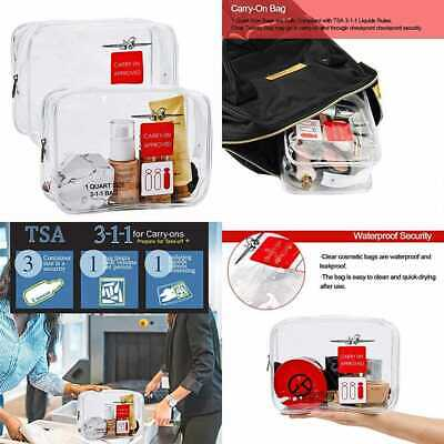 2 Pack Clear Toiletry Bag TSA Approved Travel Carry On Compliant 3 1 Liquids Rul