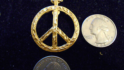 bling gold plated MYTH hippie peace sign FASHION pendant charm necklace JEWELRY