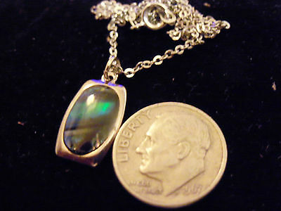 bling silver abalone paua beach shell rectangle pendant charm necklace jewelry