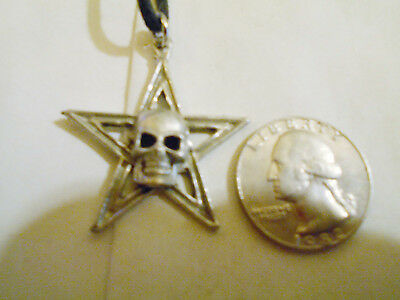 bling pewter 5 POINT STAR myth DRUID WITCH skull pendant charm necklace JEWELRY