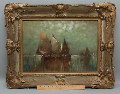 Antique EDWIN LANDSEER HARRIS Italian Venetian Sailboat Harbor Oil Painting, NR