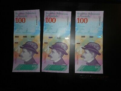 3 DIFFERENT DATES march-may 100 BOLIVARES PAPER MONEY,-1 REPLACEMENT