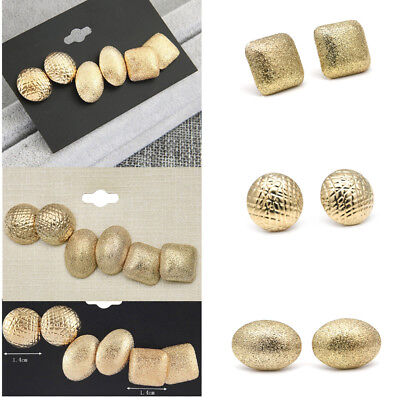 3 Pairs Earrings Elegant Women's Gold Plated Ear Stud Wedding Party Jewelry Gift