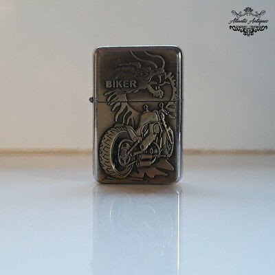 Vintage Champ Metal Refillable Petrol Cigarette Lighter Dragon and Biker Designs