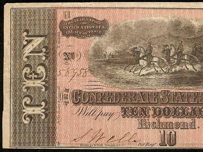 1864 $10 Dollar Bill Confederate States Currency Note Paper Money T-68 Pf-11