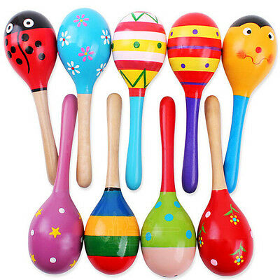 Popular Baby Toddler Music Toy Wooden Colorful Rattles Musical Instrument Gift
