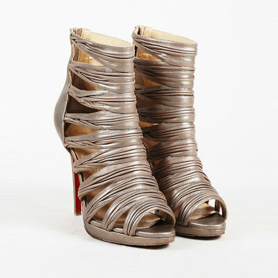 89f9e5714a7 Christian Louboutin Metallic Gold Leather Strappy