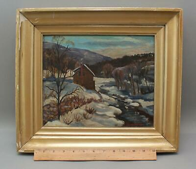 Authentic HARRY SHOKLER New England Winter Impressionist Landscape Oil Painting
