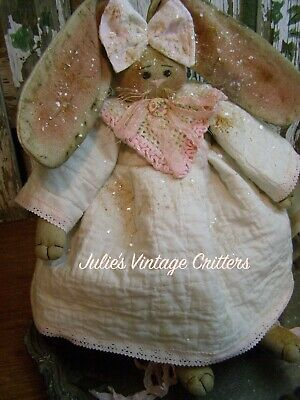 Primitive Bunny Rabbit Doll Quilt,old Doily,old Photo Folk Art Bunny Rabbit Doll