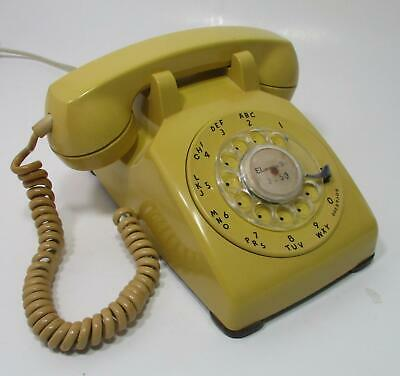 Vtg Yellow 1960 Western Electric Bell System G-3 Rotary Dial Desk Top Telephone