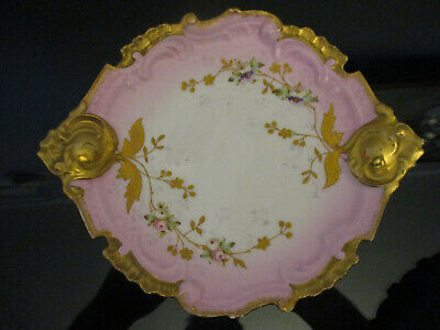 Antique Rococo Limoges French Porcelain Gold Gilt Roses Daisy Cabinet Plate Tray