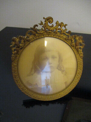 Antique French Louis XIV Rococo Cupid Angel Gold Gilt Brass Photograph Frame!