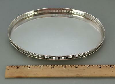 Small Antique BIRKS Sterling Silver Pierced Gallery Oval Footed Slaver Tray