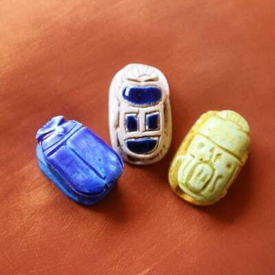Amazing Set of 3 Stone Ancient Egyptian Lucky Scarab beetle, Amulets & Plaques
