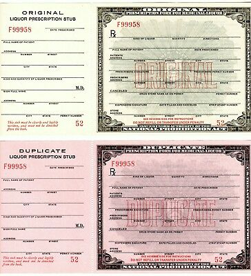 2 Prohibition Medicine Prescriptions Old Whiskey Bourbon Doctor Pharmacist Bar