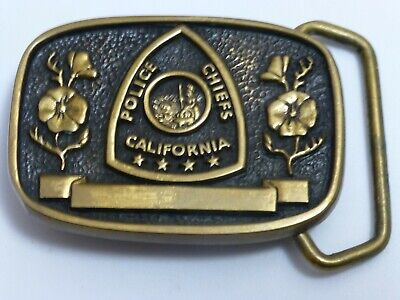 Vintage California Police Chiefs Solid Brass Belt Buckle Serial #110 Made in USA