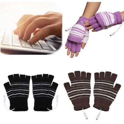 Electric USB Heated Gloves Warmer Knitting Thermal Glove Mittens Rechargeable AU