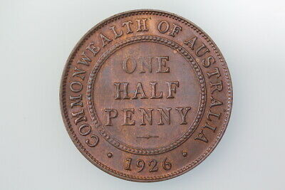 Australia Halfpenny Coin 1926 Km22 Extremely Fine