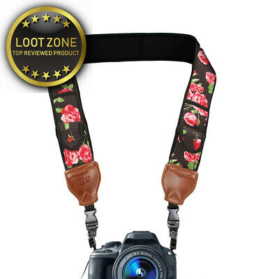 DSLR Camera Neck Strap with Floral Neoprene Design and Quick Release Buckles...