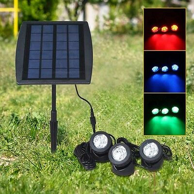 Solar Power Flood Light RGB Multicolor LED Spotlight 3 Lamp For Garden Pond Path
