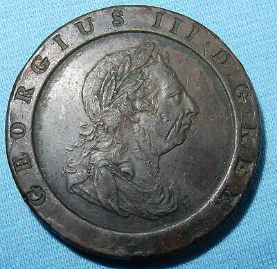 1797 George Iii Cartwheel Penny Coin - Very Fine Example
