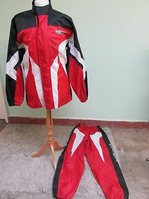 Wolfsport waterproof red and black jacket and trousers rain suit Size M