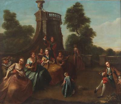 Circle of Nicolas Lancret Antique Fine old Master Oil Painting Figures Musicians