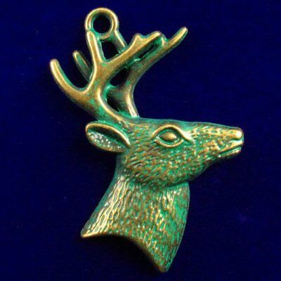 R13204 Carved Brass Bronze Spotted Deer Head Pendant Bead 52x46x6mm