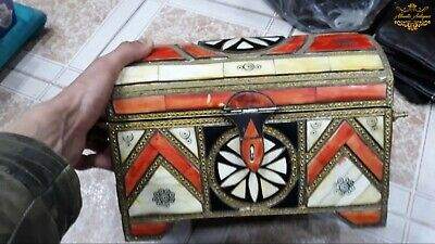 Vintage Antique Old Rare Box Jewelry Moroccan Copper Handmade Home Storage Decor