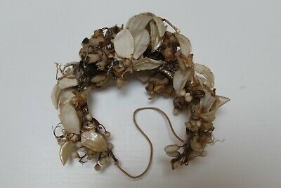 Antique Victorian wax bridal garland, head-piece