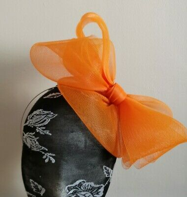 Orange fascinator millinery burlesque wedding hat hair piece ascot race bridal