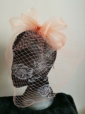 Peach nude coral salmon fascinator millinery burlesque wedding hat veil veiling