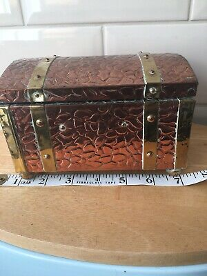 Antique Copper And Brass Treasure Chest Style Trinket Box