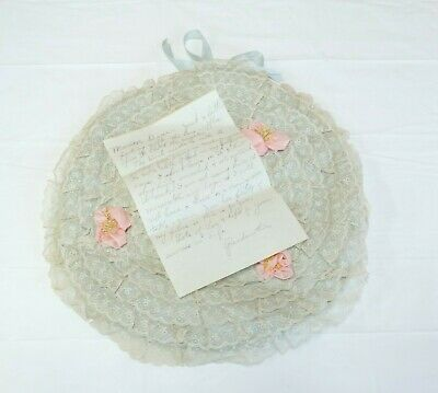 Vtg 1930's Ruffled LACE Silk Rosettes BOUDOIR PILLOW Lingerie Holder