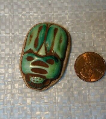 Vintage  Czech Art DECO  SCARAB    Egyptian REVIVAL    ART Glass  Cabochon