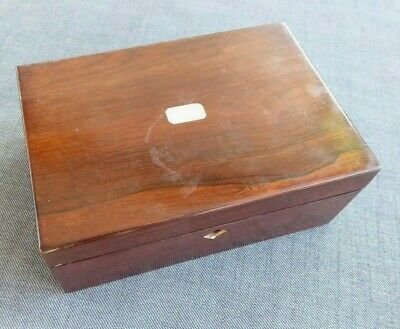 Antique mahogany wooden jewellery or needlework box ##REC65BS