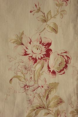 Fabric Antique French Faded floral red roses pale ground cotton c1900 textile
