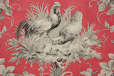 Fabric Antique French country ROOSTER pattern red + gray chicken block printed