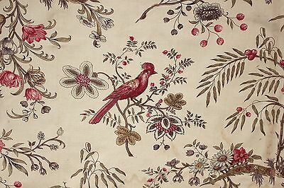 Chintz Fabric Antique French Indienne design linen cotton woodblock printed 1830