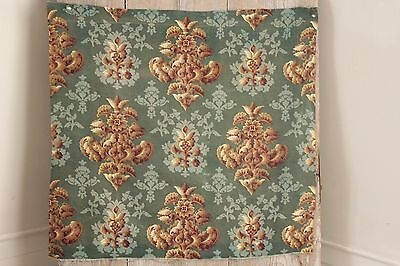 Fabric Antique French Printed Green and Gold Floral Art Nouveau design 29X31in