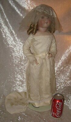 "German 23"" HANDWERCK DOLL Mold No. 2 1/2 in BRIDES DRESS w/ Leather Body & Stand"
