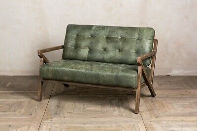 Matcha Green Leather Mid Century Modern Style Two Seater Sofa
