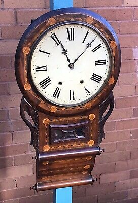 A LARGE EARLY ANTIQUE ANGLO AMERICAN INLAID DROP DIAL WALL CLOCK, CIRCA 1880s..