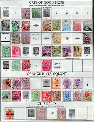 South Africa Provinces, QV & E7 collection of 78 mint & used on 2 album pages.