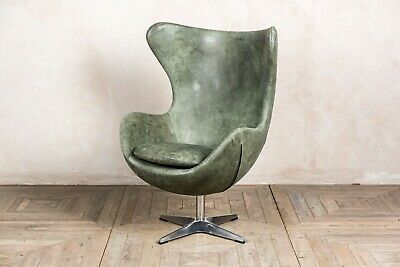 Matcha Green Leather Retro Style Swivel Egg Chair In Vintage Finish